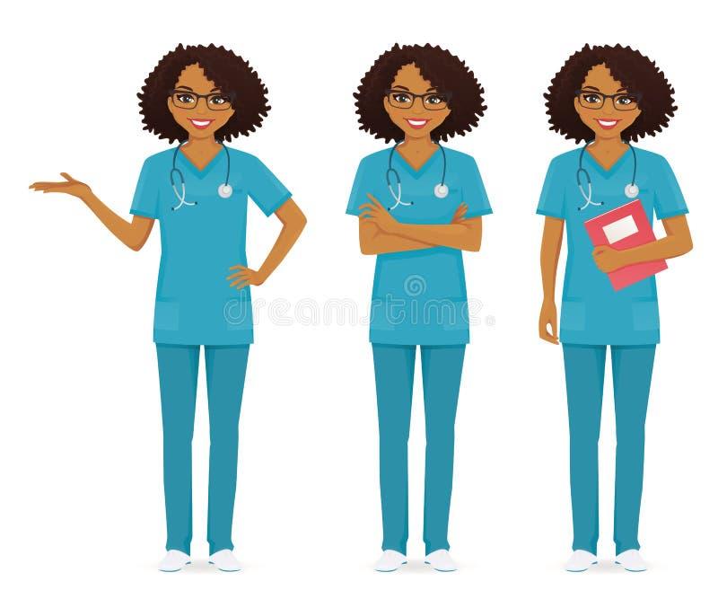 护士集合黑色 向量例证