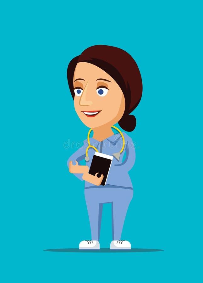 护士&友好的医疗保健医生例证与听诊器象 库存图片
