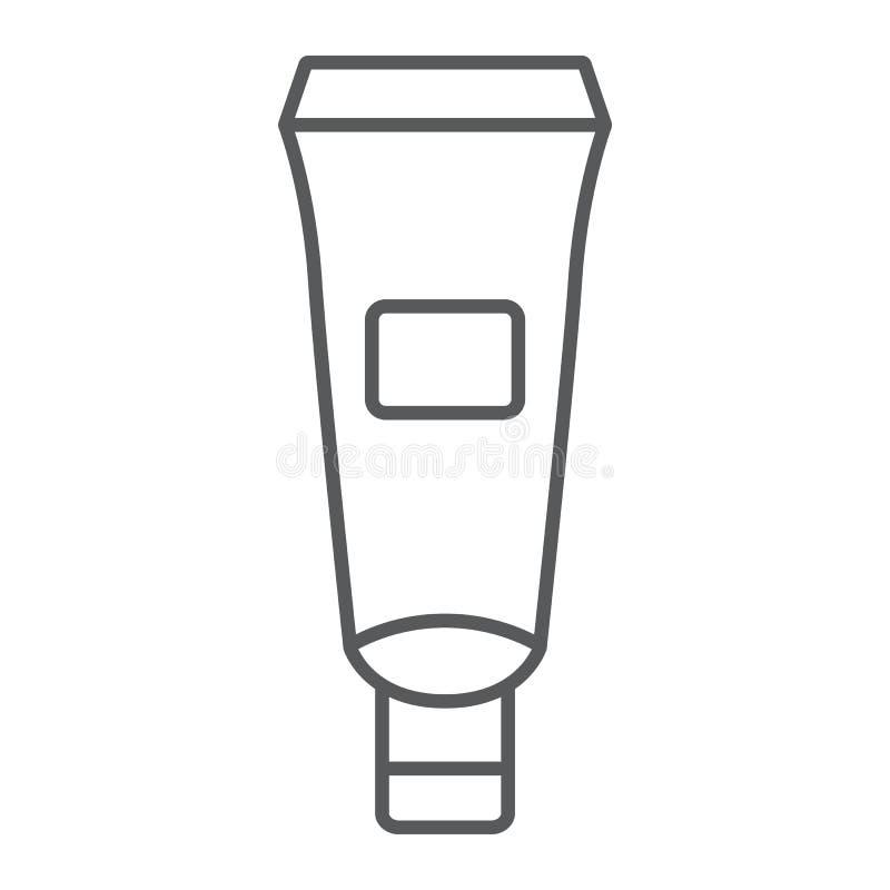 护手霜管稀薄的线象,润肤霜和化妆,奶油色瓶标志,向量图形,在a的一个线性样式 向量例证