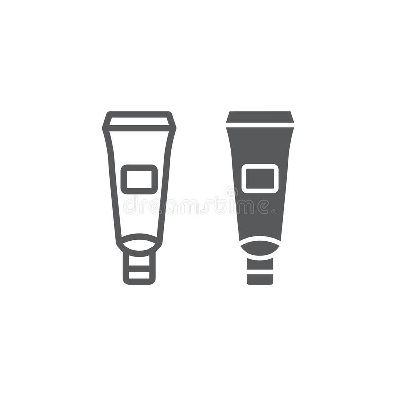 护手霜管线和纵的沟纹象、润肤霜和化妆,奶油色瓶标志,向量图形,在a的一个线性样式 皇族释放例证