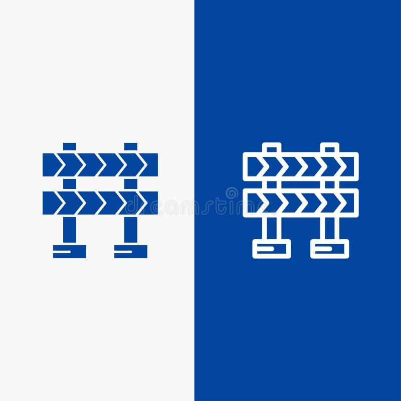 护拦、障碍、建筑线和纵的沟纹坚实象蓝色旗和纵的沟纹坚实象蓝色横幅 皇族释放例证