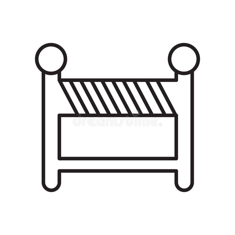 护拦在白色背景隔绝的象传染媒介,设路障标志、标志和标志在稀薄的线性概述样式 向量例证