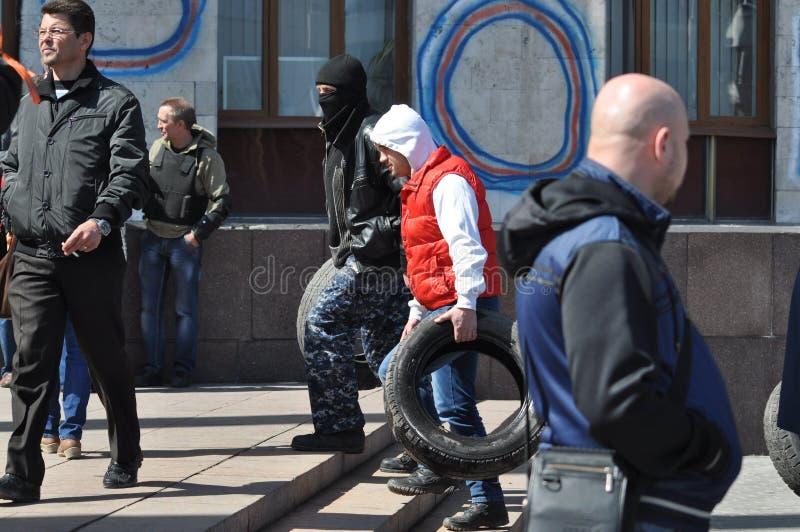 护拦的顿涅茨克轮胎。乌克兰 免版税库存照片