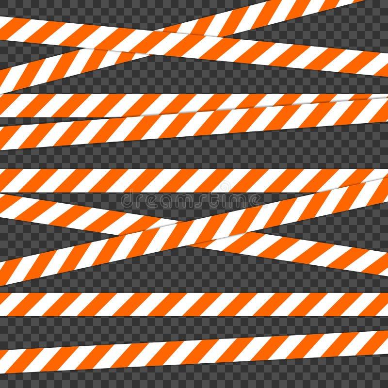 护拦磁带 对交通和小心警告 录音为警告或受到注意 包含一种可能的危险的磁带 皇族释放例证