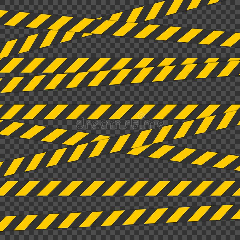 护拦磁带 对物理危险 录音为警告或受到注意 包含一种可能的危险的磁带 皇族释放例证