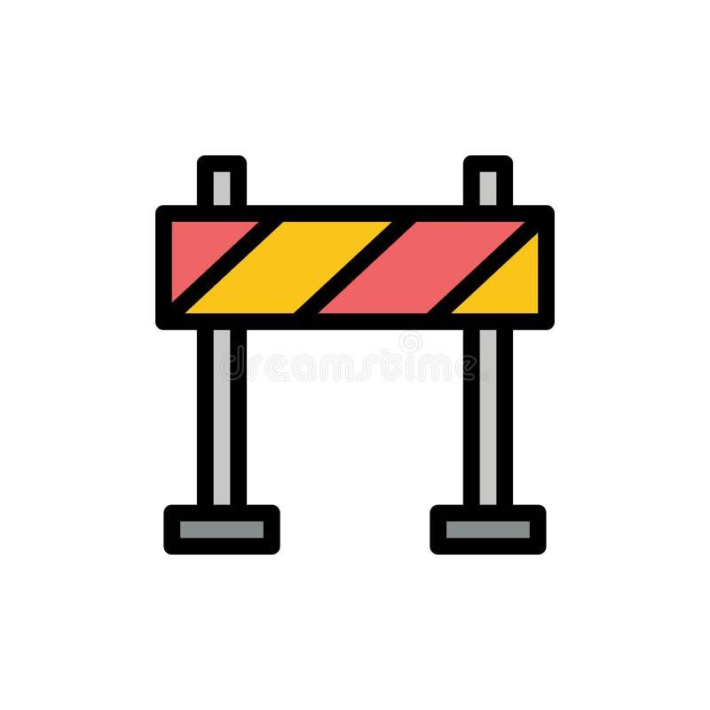 护拦,障碍,建筑平的颜色象 传染媒介象横幅模板 向量例证