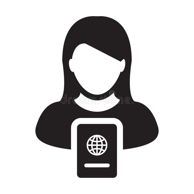 护照与女性外形具体化国际身分的和旅行的象传染媒介在纵的沟纹图表例证Symbo 向量例证