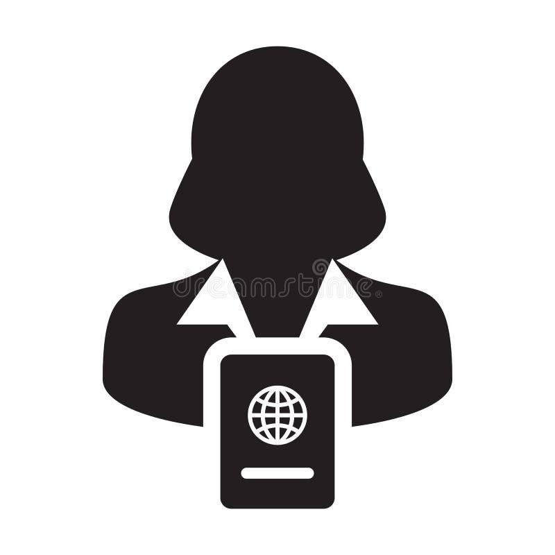 护照与女性外形具体化国际身分的和旅行的象传染媒介在纵的沟纹图表例证Symbo 库存例证