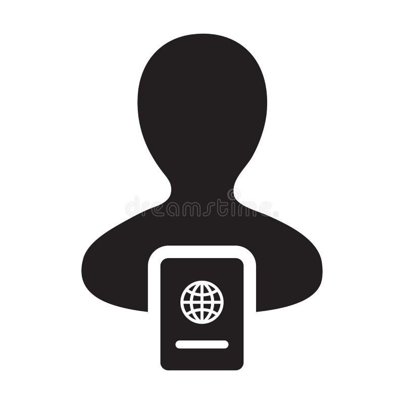 护照与男性收养外形具体化国际身分的和旅行的象传染媒介在纵的沟纹图表例证标志 库存例证