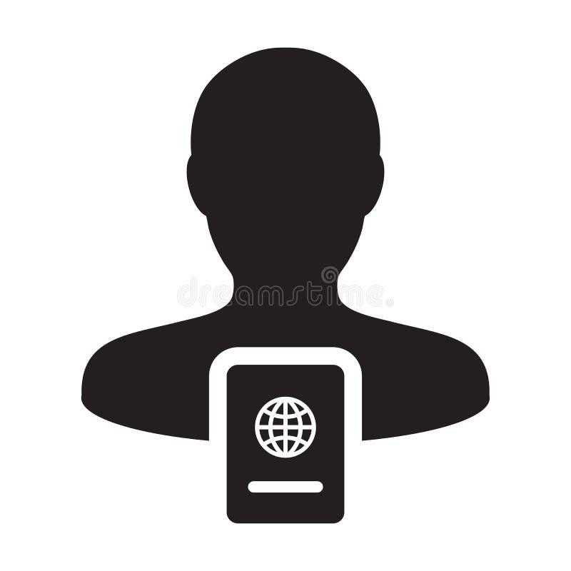 护照与男性收养外形具体化国际身分的和旅行的象传染媒介在纵的沟纹图表例证标志 向量例证