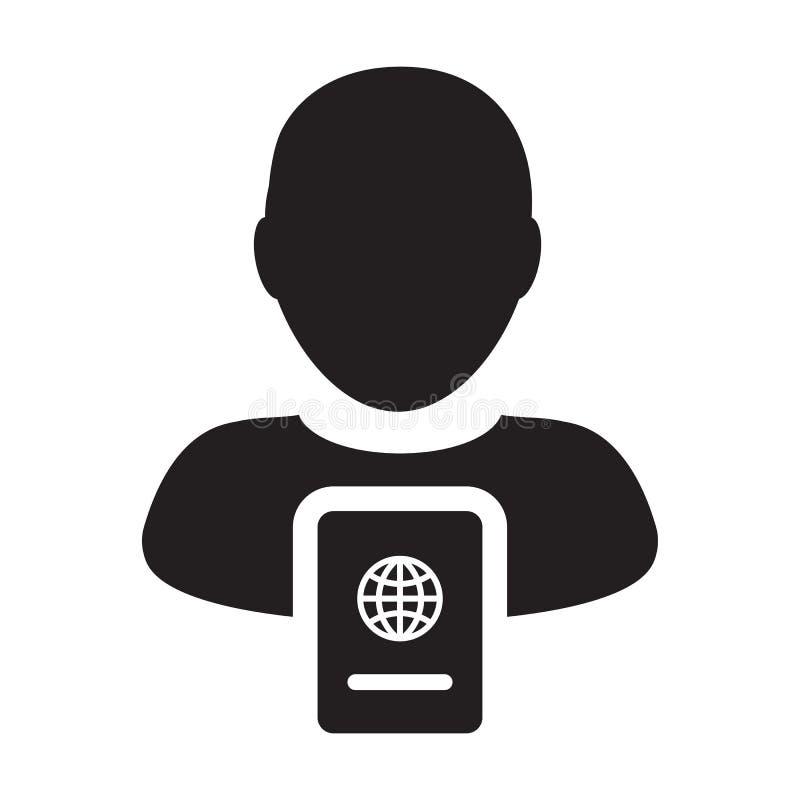 护照与男性收养外形具体化国际身分的和旅行的象传染媒介在纵的沟纹图表例证标志 皇族释放例证