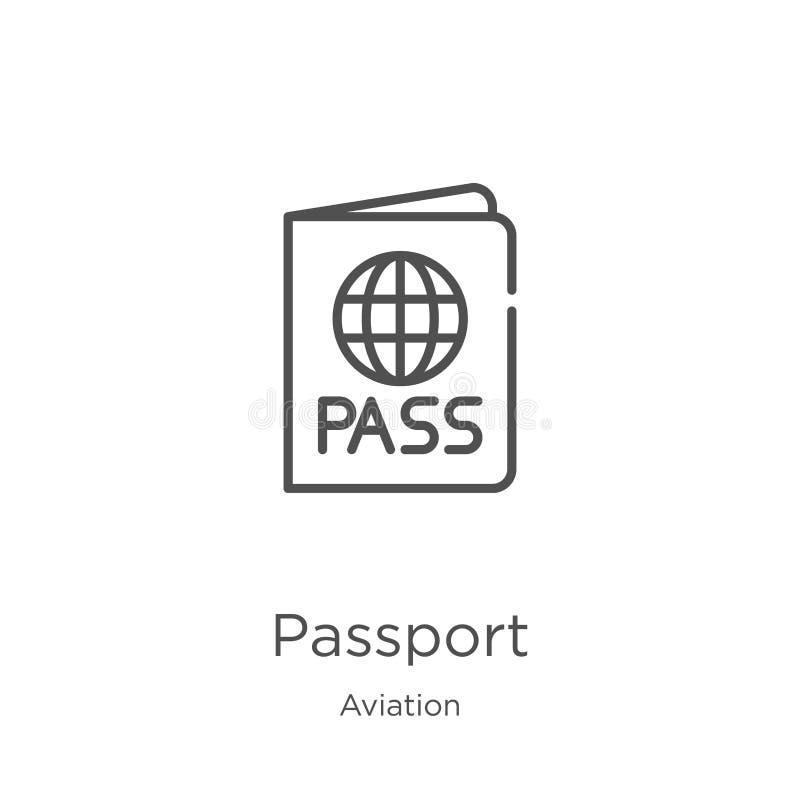 护照从航空汇集的象传染媒介 稀薄的线护照概述象传染媒介例证 概述,稀薄的线护照 皇族释放例证