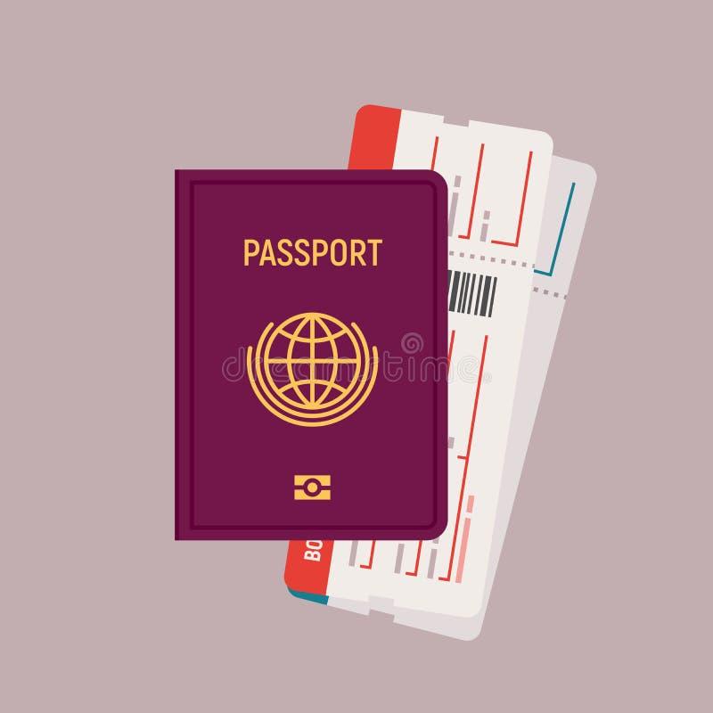 护照和登舱牌票 在平的设计的传染媒介例证 库存例证