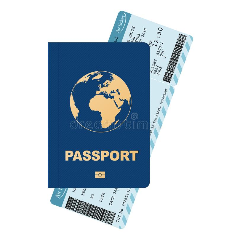 护照和登舱牌,航空公司乘客票 向量 向量例证