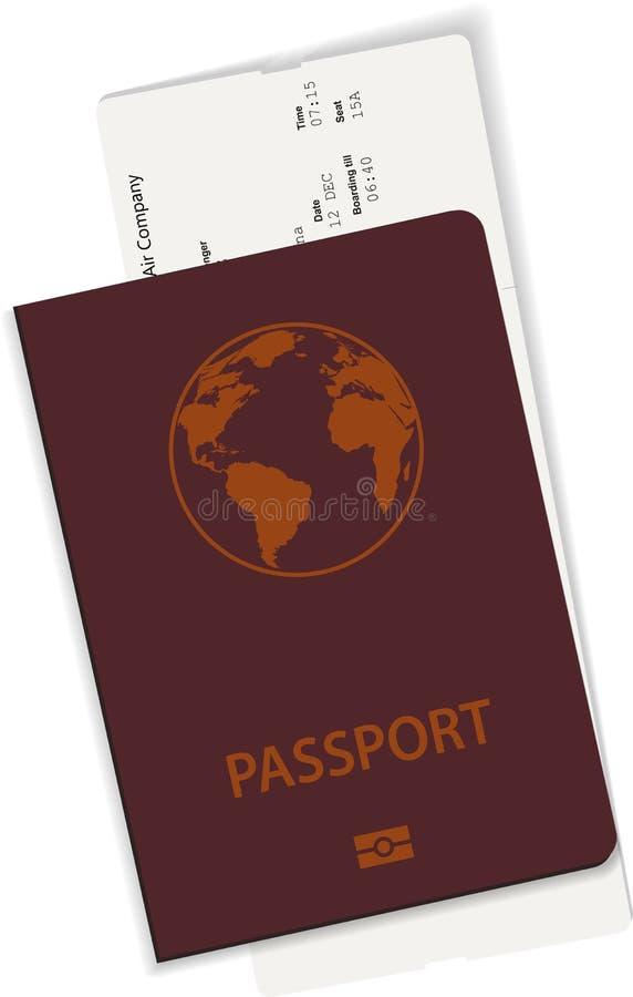 护照和票或者登机牌例证 库存例证