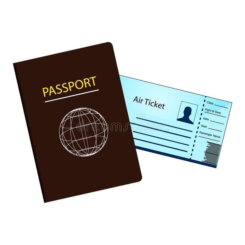 护照和Airticket 库存例证