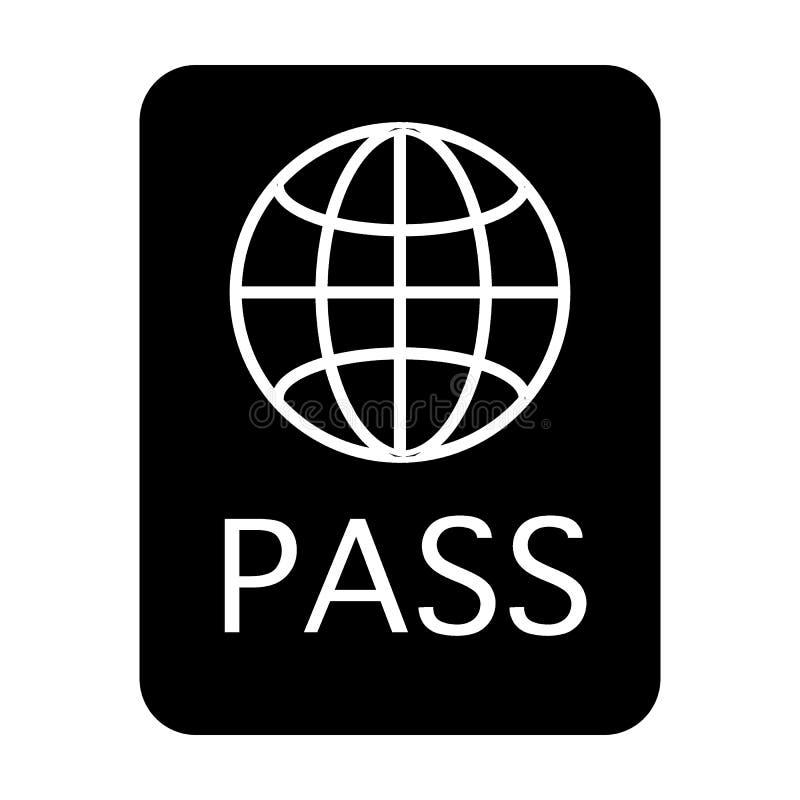 护照固体象 文件在白色隔绝的传染媒介例证 证明纵的沟纹样式设计,设计为网 向量例证