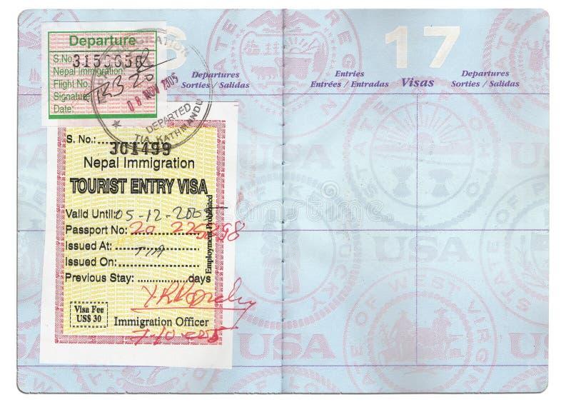 护照旅游签证 库存图片