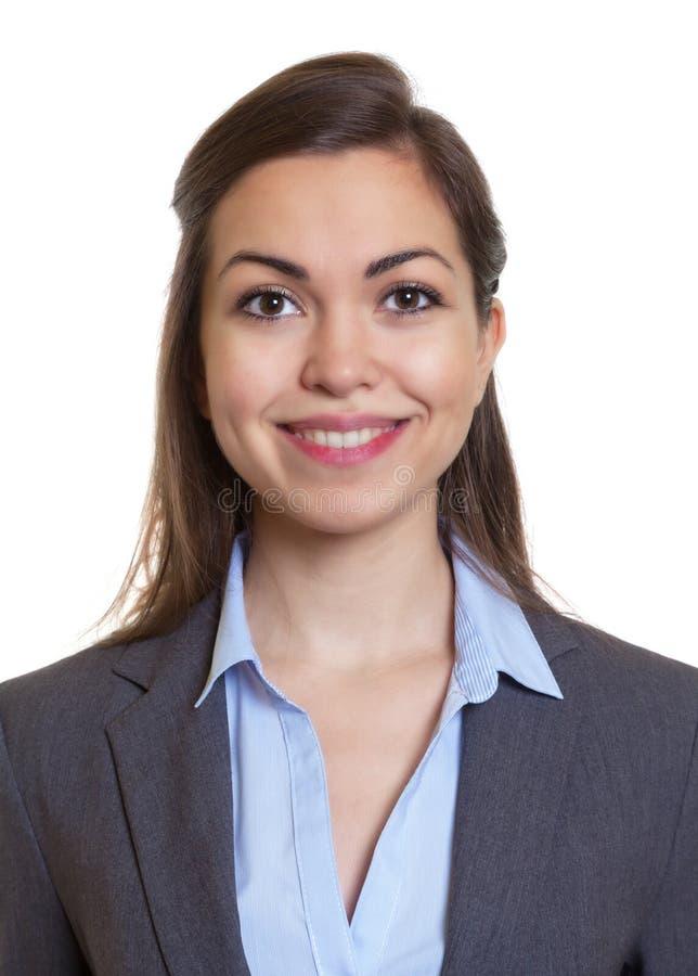 护照有棕色头发的图片女实业家 免版税库存照片
