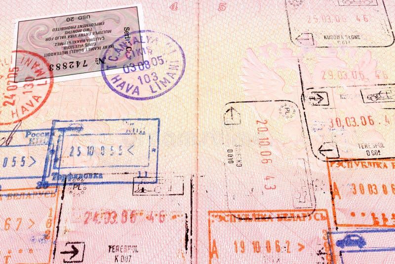 护照标记签证 免版税库存照片
