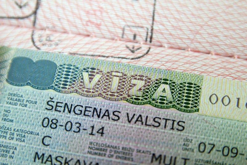 护照申根签证 免版税库存照片