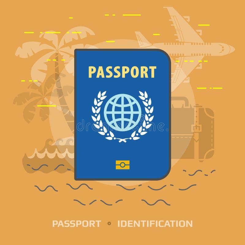 护照的平的例证反对橙色背景的 皇族释放例证