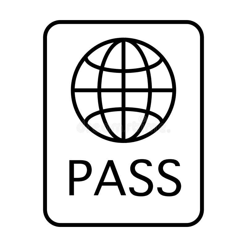护照稀薄的线象 文件在白色隔绝的传染媒介例证 证明概述样式设计,被设计 皇族释放例证