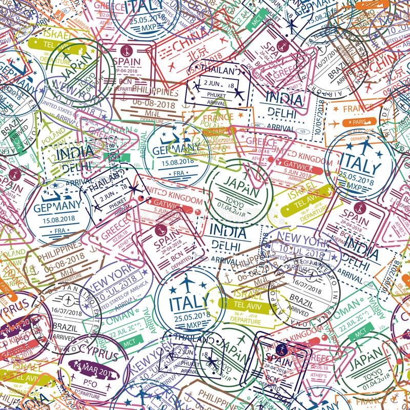 护照签证图章无缝的样式 与欧洲和亚洲的不同的国家签证图章的旅行背景  库存例证