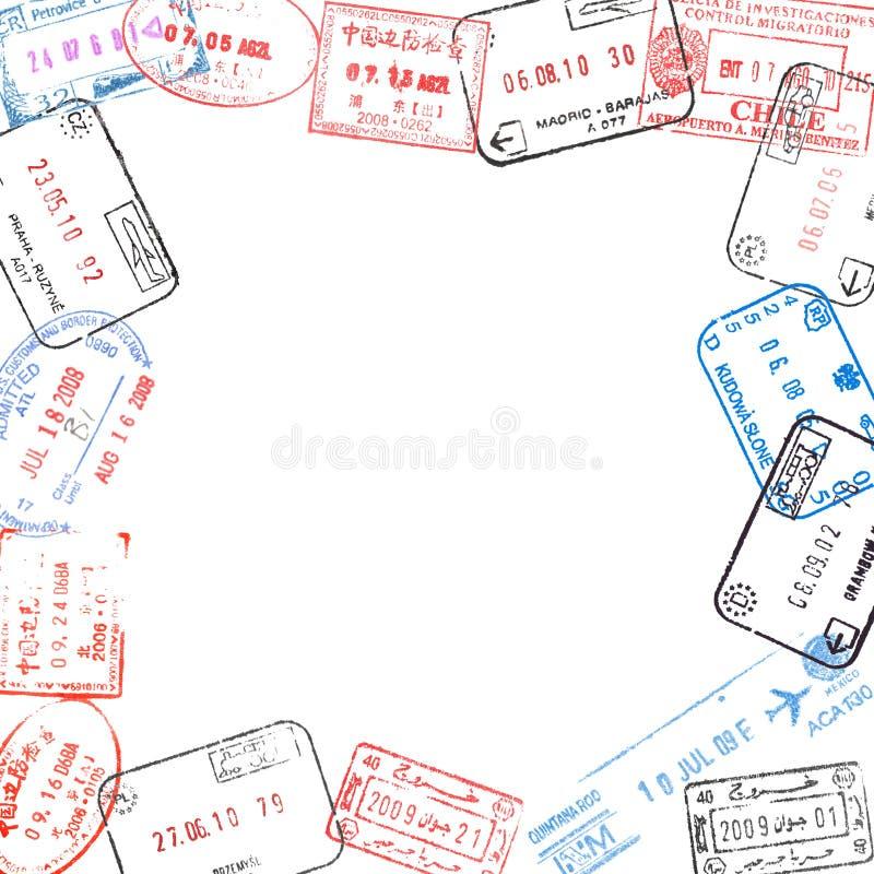 从护照签证图章的框架 图库摄影