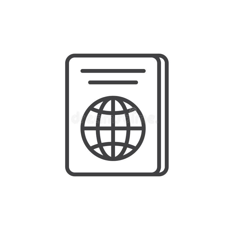 护照线象,概述传染媒介标志,在白色隔绝的线性样式图表 皇族释放例证