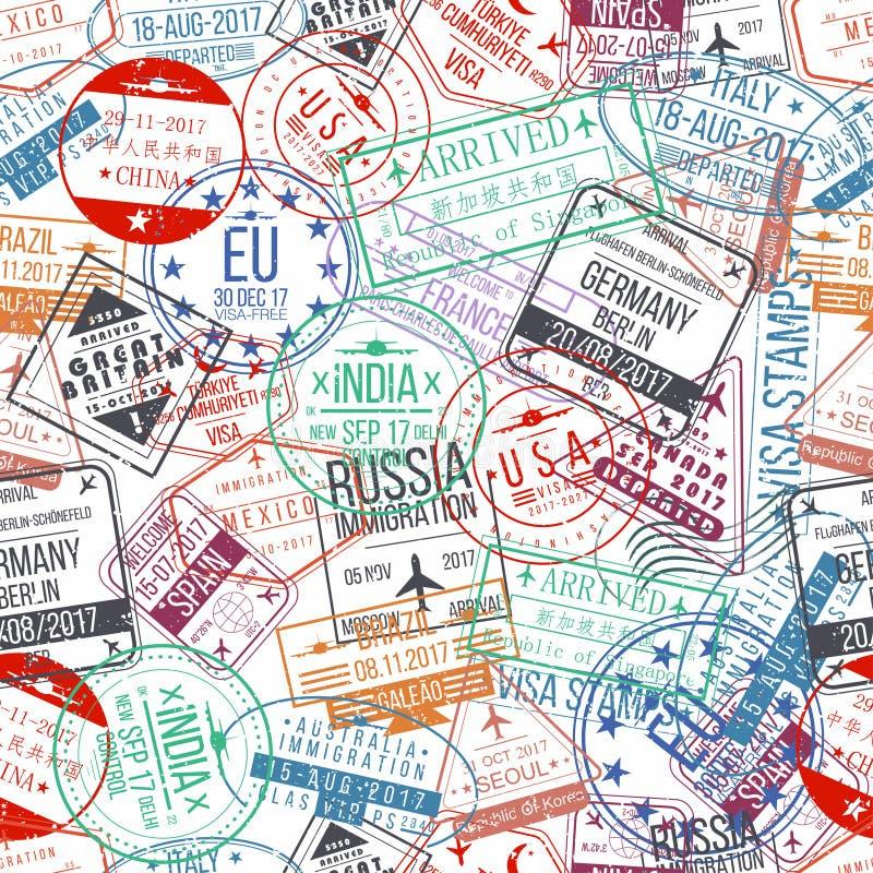 护照邮票无缝的样式 国际到来标志橡胶,签证图章 库存例证