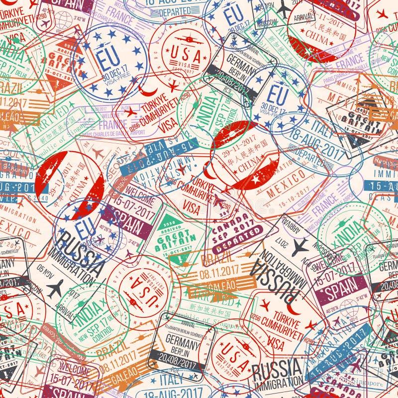 护照邮票无缝的样式 国际到来签署橡胶、签证机场邮票和水印 皇族释放例证