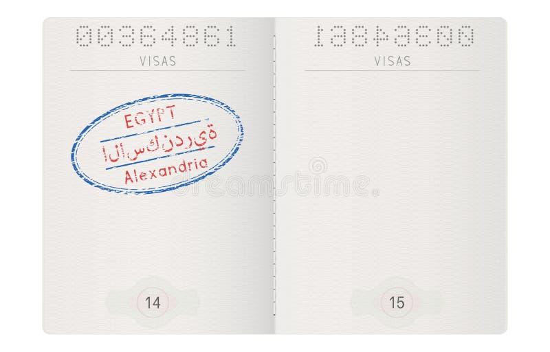 护照页 亚历山大邮票,埃及 皇族释放例证