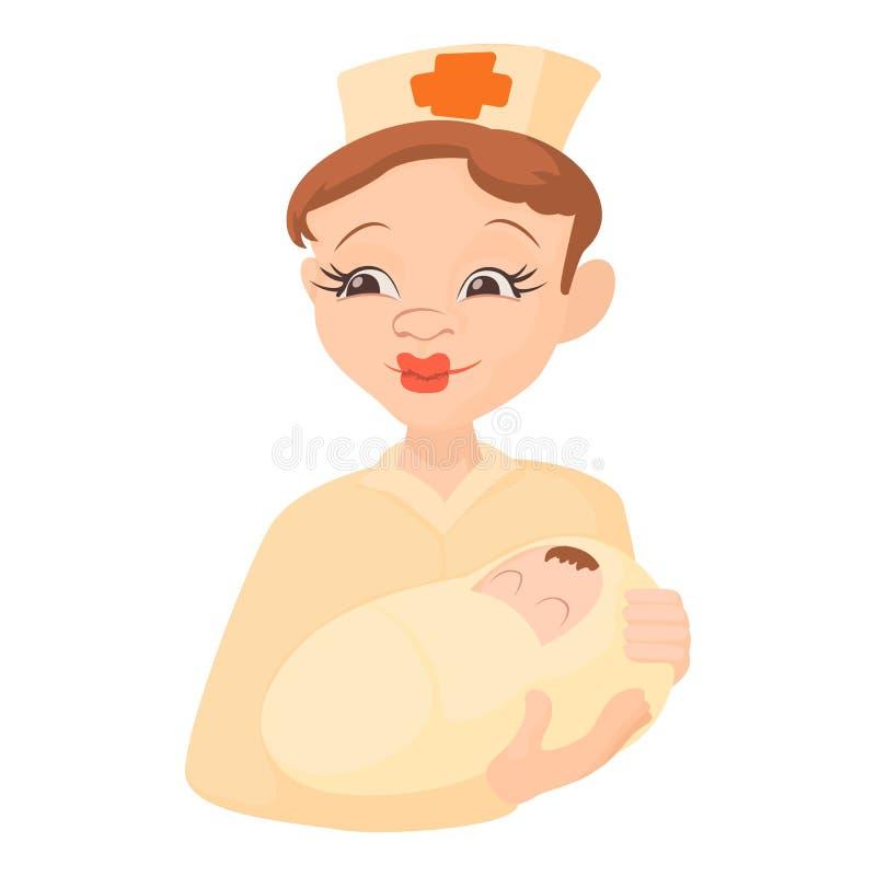 护理拿着一个新出生的婴孩象,动画片样式 向量例证