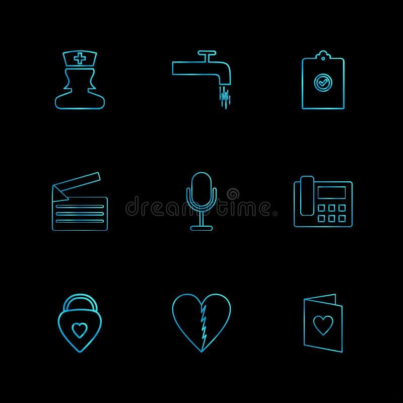 护理,轻拍,剪贴板,消息, mic,电话,心脏,他 库存例证