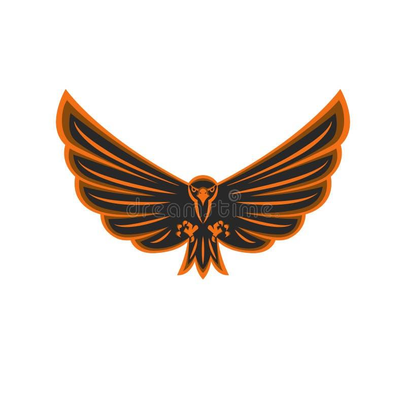 护符飞行老鹰商标鸷与广泛被涂的翼和鹰的积极的注视,黑和橙色象征印刷品的 向量例证
