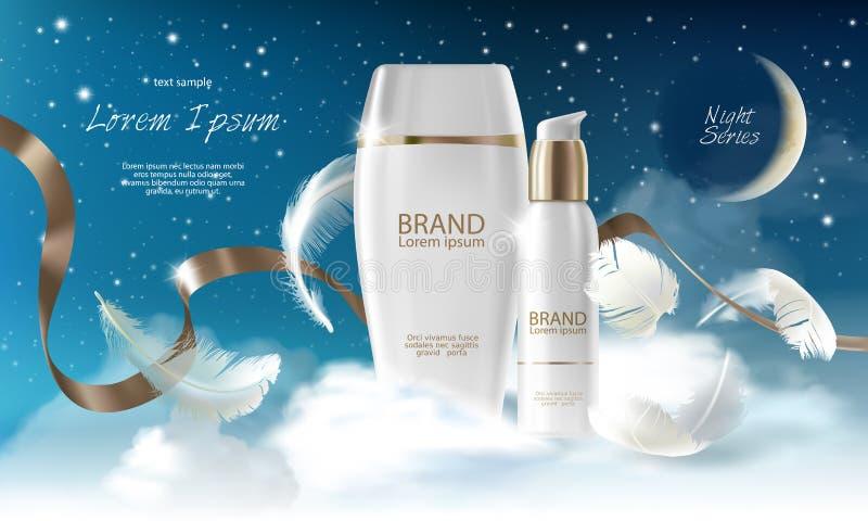 护肤奶油夜系列 瓶子,浪花,有化妆奶油的容器在与云彩的夜背景 向量 库存例证