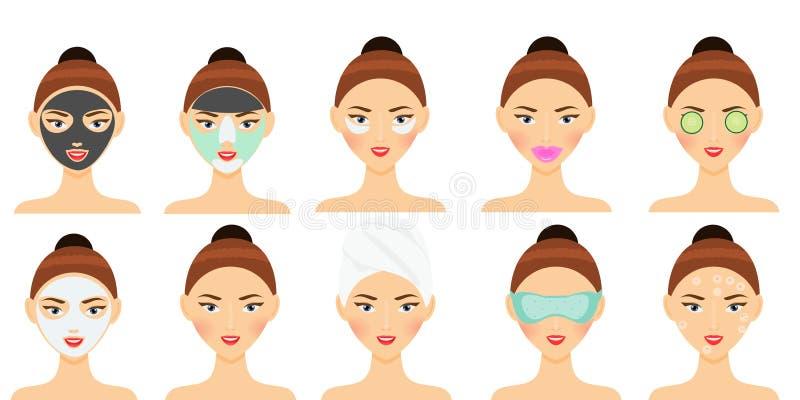 护肤惯例 妇女做面部面具的,眼睛补丁、嘴唇补丁和其他秀丽面对治疗 向量例证