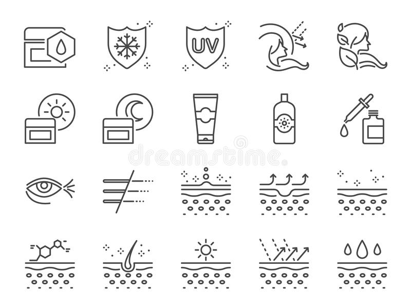 护肤象集合 作为胶原、医疗化妆用品、遮光剂、面部奶油、健康皮肤,皱痕和更多的包括的象 皇族释放例证