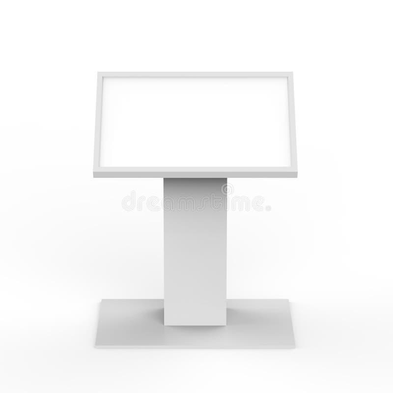 报亭在被隔绝的白色背景, 3d的信息屏幕以图例解释者 向量例证
