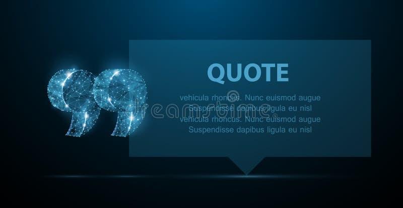 报价 与行情标记的抽象现代空白的讲话泡影在深蓝背景 库存例证