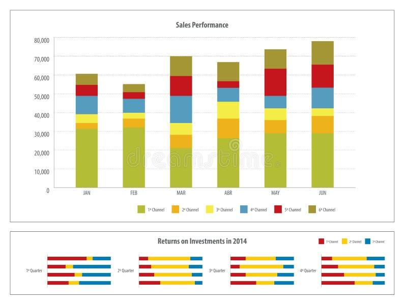 报告与金融投资图 向量例证
