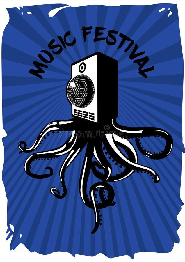 报告人伴音系统用章鱼 音乐节葡萄酒海报 电子党横幅模板 皇族释放例证