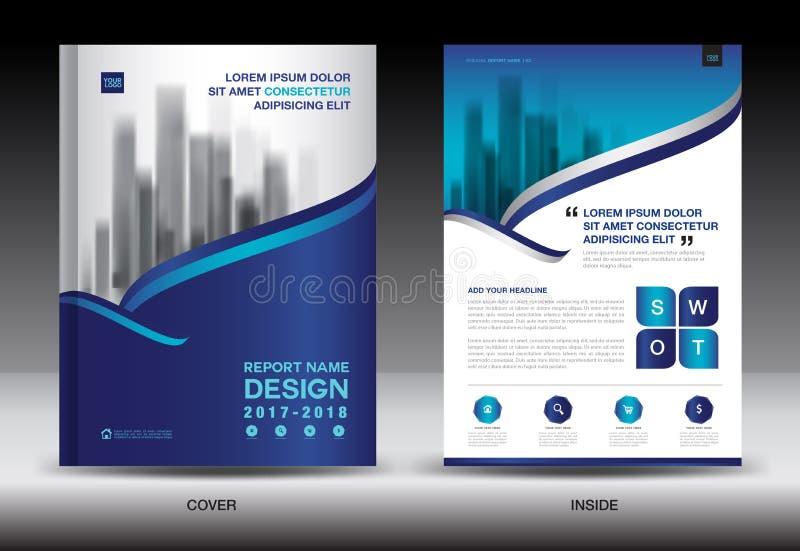 年终报告小册子飞行物模板,蓝色盖子设计 库存例证