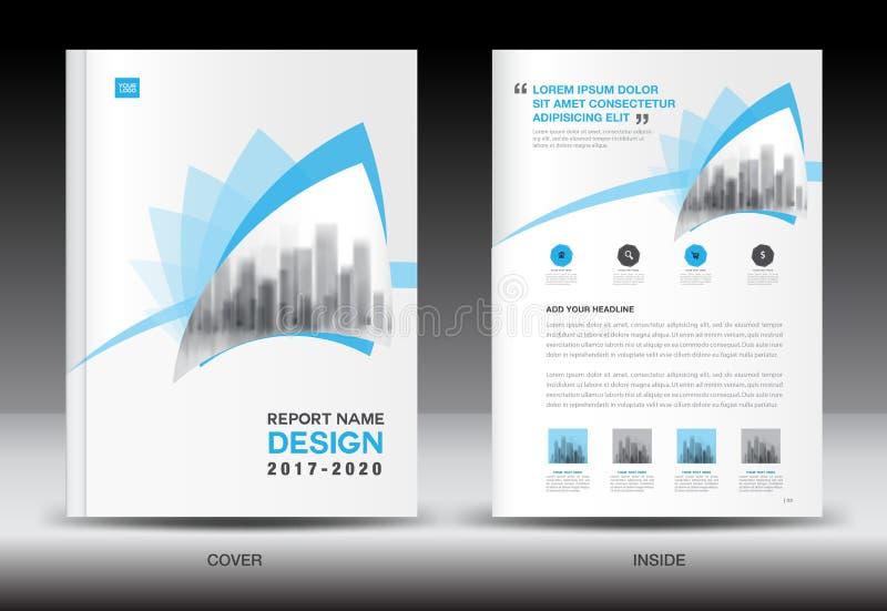 年终报告小册子飞行物模板,蓝色盖子设计 向量例证