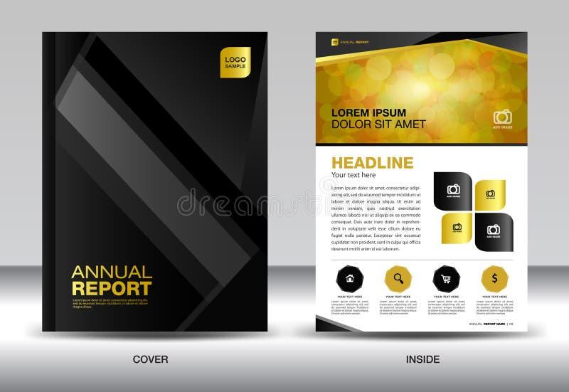 黑年终报告模板,盖子设计,小册子fl yer,信息g 库存例证