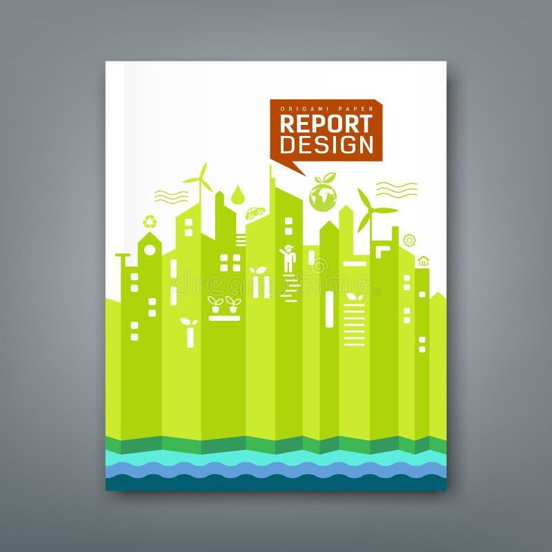 年终报告环境origami纸 库存例证