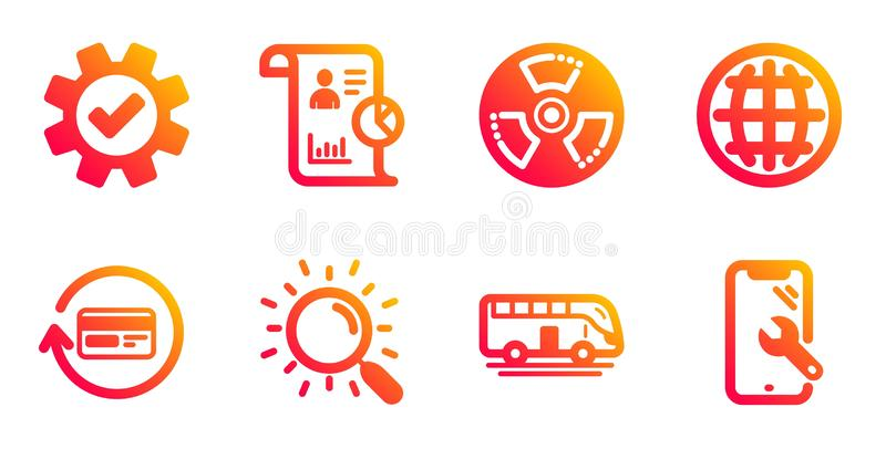 报表、退款佣金和全球图标集 巴士之旅、化学危险与搜索标志 矢量 皇族释放例证