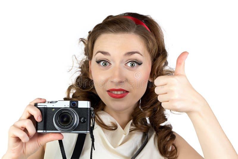 画报妇女的照片有赞许的 库存照片