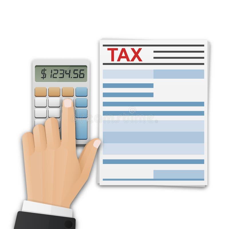 报税表或财政文件和人的手,在计算器的计数税 税金计算、付款或者回归概念 皇族释放例证